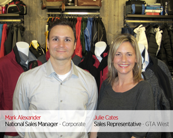 Mark Alexander, National Sales Manager - Corporate / Julie Cates, Sales Representative - GTA West